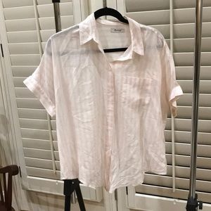 Madewell pink stripe button down size small